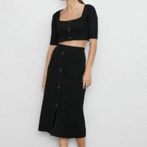 Zara Womens Midi Knit Skirt S Black With Buttons
